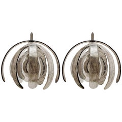 Rare Huge Carlo Nason Blown Glass Ceiling Lights Chandeliers, Italy, 1960s