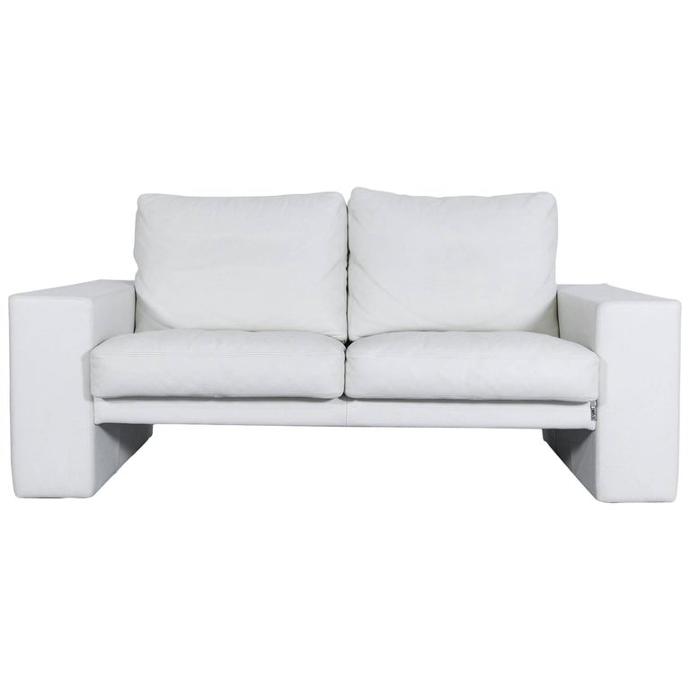 erpo cl 100 designer sofa leather white cream two seat couch modern for sale at 1stdibs. Black Bedroom Furniture Sets. Home Design Ideas
