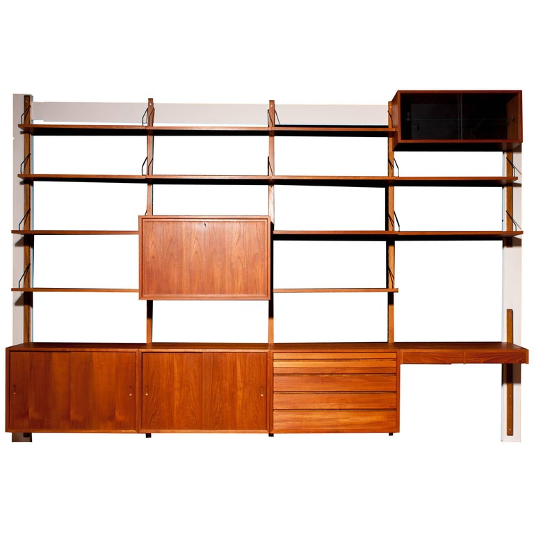 Modulair Teak Wood Wall System by Paul Cadovius for Royal Systems, Denmark, 1960