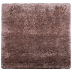 Square Silk and Wool Shag Area Rug in Coffee/ Bronze Color