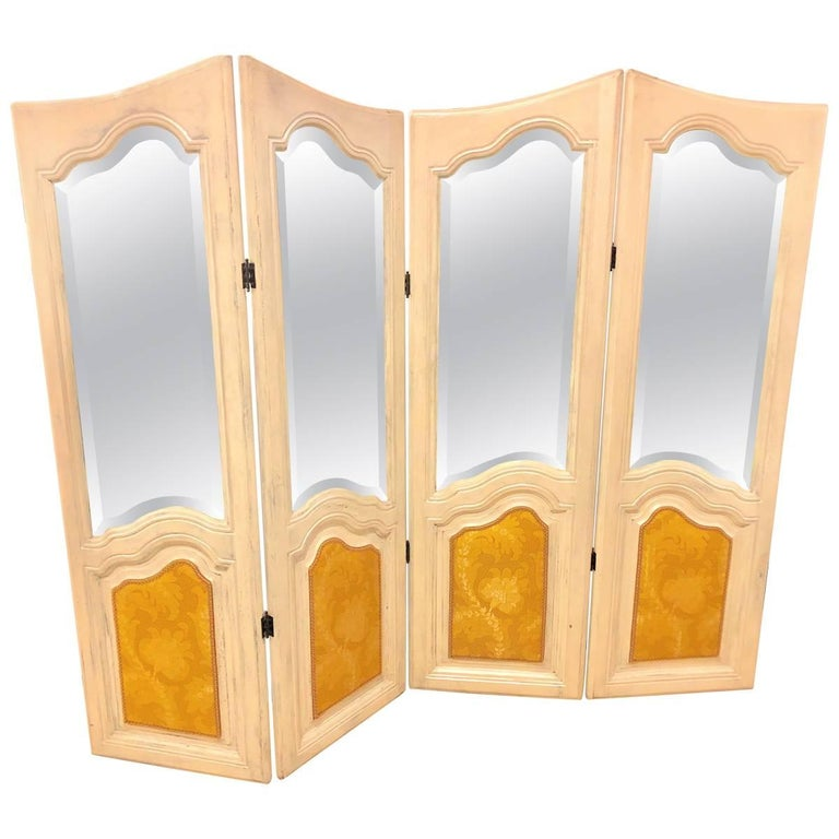 Hollywood Regency Four-Panel Painted Mirror/Room Divider or Folding Screen