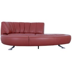 De Sede DS 164 Designer Sofa Leather Terracotta Red Two-Seat Function Couch