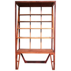 """Armonny"" Modern Bookcase, Brazilian Hardwood by Deodato"