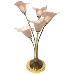 Italian Murano Handblown Calla Lilies Table Lamp
