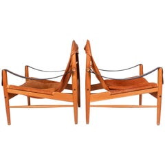 "Pair of Hans Olsen ""Antilop"" Suede and Oak Lounge Chairs by Viskadalens Möbler"