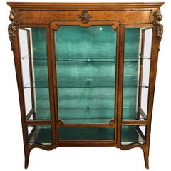 French Marquetry Display or Vitrine Cabinet, 19th Century with Ormolu
