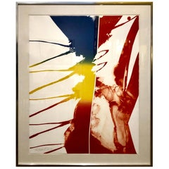 Striking Large Framed Abstract Signed Color AP Litho by Paul Jenkins, 1981