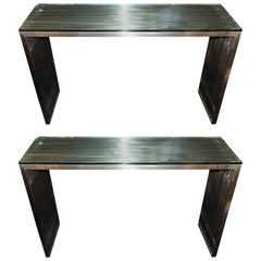 Mid-Century Modern Deco Brushed Nickel Slat Lucite Glass Top Console Tables Pair