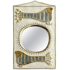 French Ceramic Mirror by Francois Limbo of Vaullauris