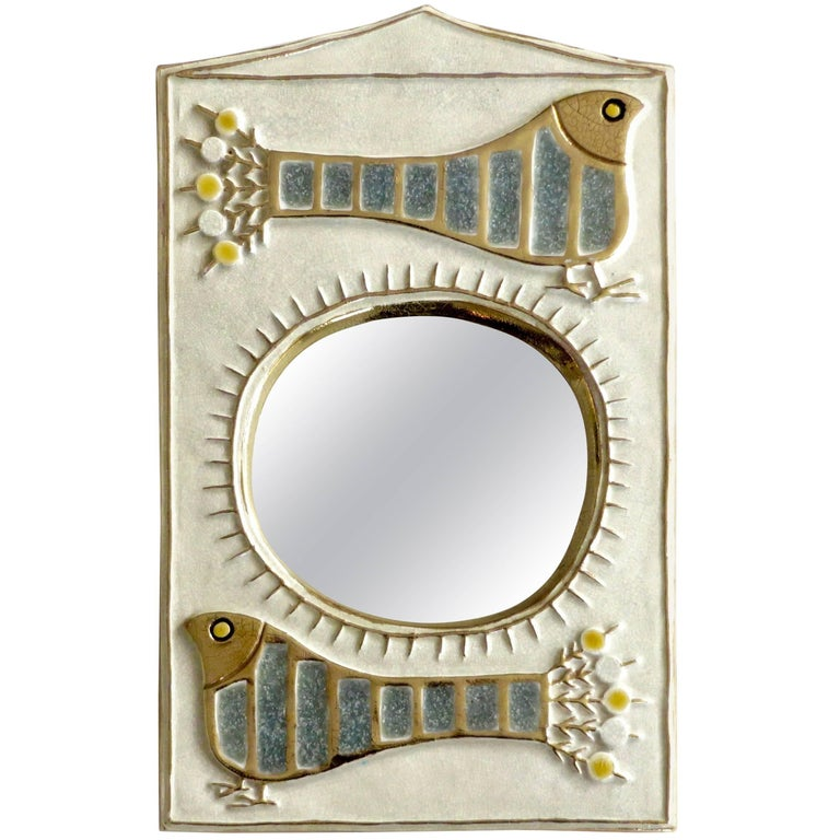 French Ceramic Mirror by Francois Lembo of Vaullauris For Sale