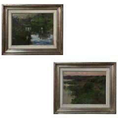 Pair of Antique Framed Oil Paintings on Board by Herman Richir