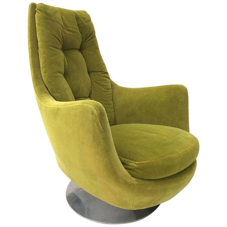 Milo Baughman for Thayer Coggin Plush Mod Swivel Lounge Chair