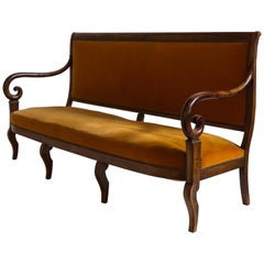 French Mahogany Opened Framed Orange Velvet Settee with Curved Arm Detail
