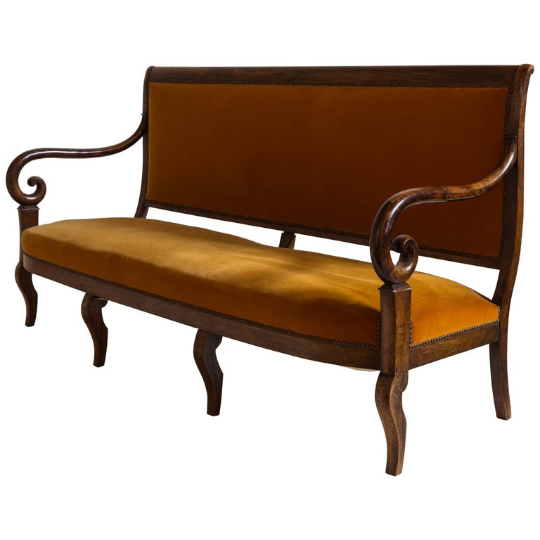 French Mahogany Opened Framed Orange Velvet Settee with Curved Arm Detail For Sale