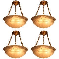 Set of Four Art Deco Chandeliers by Muller Freres