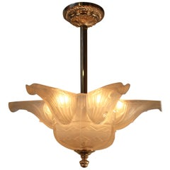 French Art Deco Chandelier by Des Hanots