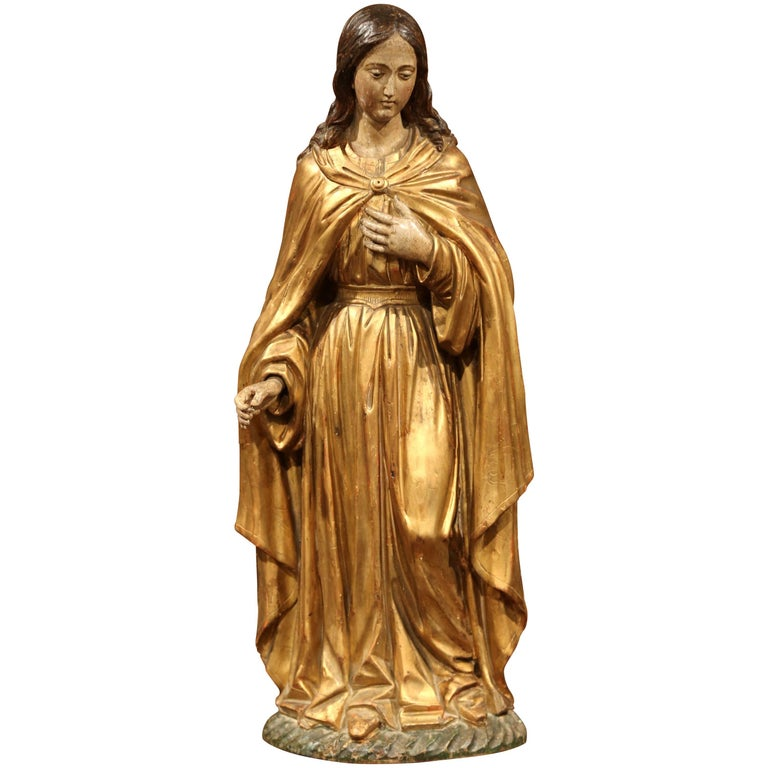 18th Century French Carved Giltwood and Polychrome Virgin Mary Statue