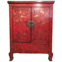 Qing Dynasty Red Lacquer Cabinet Shanxi Province