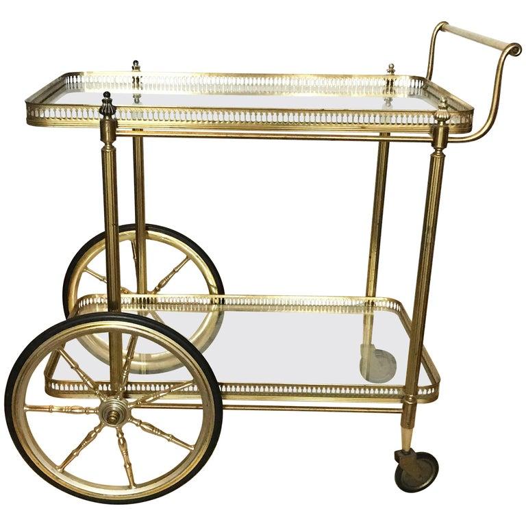 maison jansen brass bar cart for sale at 1stdibs. Black Bedroom Furniture Sets. Home Design Ideas