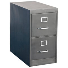 1960s Two-Drawer Filing Cabinet Refinished in Natural Steel