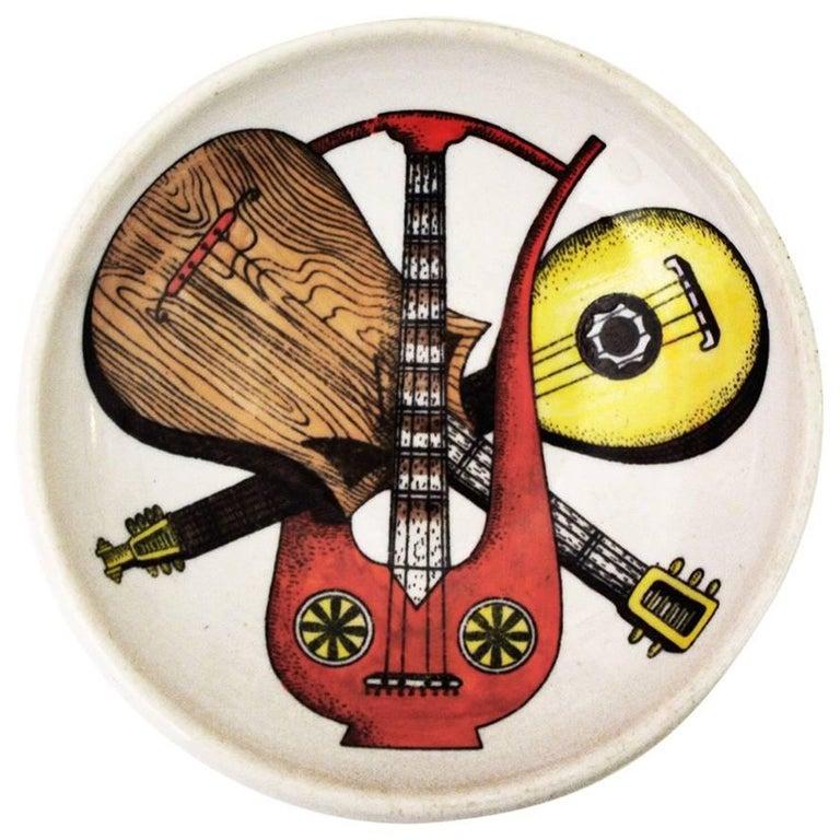 Piero Fornasetti Ceramic Ashtray Dish Musical Instruments, Italy 1950s
