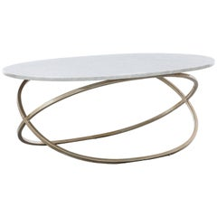 CHANTAL COFFEE TABLE - Modern Oval Cocktail Table with Carrara Marble