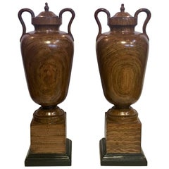 Large Faux Bois Painted Urns, Pair