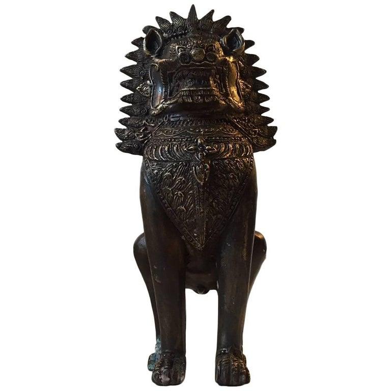 Antique Burmese Bronze Figurine of Singha, Foo Dog, circa 1900
