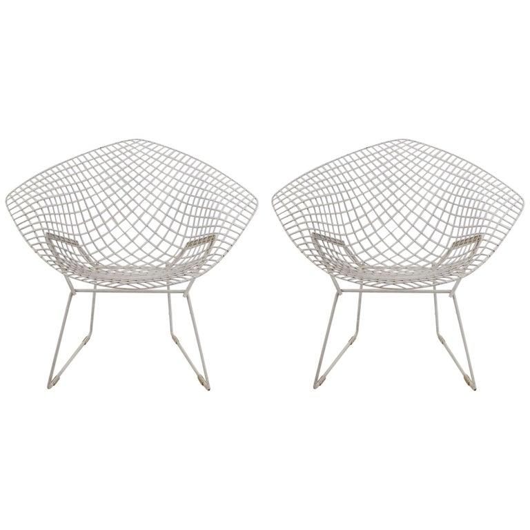 Pair of Bertoia Diamond Chairs