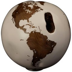 Teak Root Globe with White Finishing