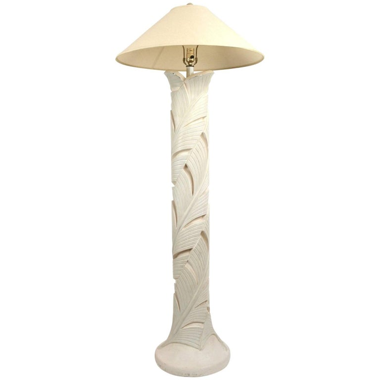 Plaster Floor Lamp in Foliate Motif
