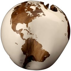 White Acrylic Resin Wooden Globe