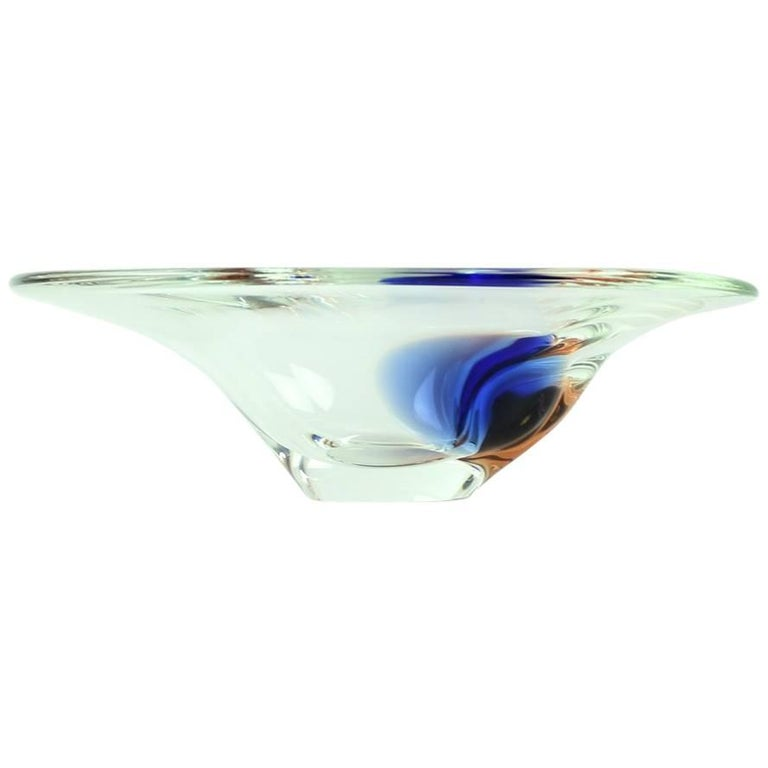 Clear and Blue Art Glass Bowl by Borocrystal, Czechoslovakia, circa 1960 For Sale