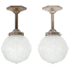 Pair of French Nickel and Satin Glass Art Deco Ceiling Lights, 1930s