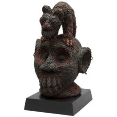 Beaded Ceremonial Head with Leopard, Cameroon Grasslands