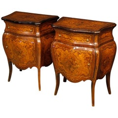 Pair of Italian Inlaid Bedside Tables in Wood in Louis XV Style, 20th Century