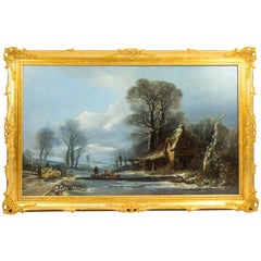 Antique Large Painting Ferry Crossing in a Winter Landscape by H.Muller, 1838