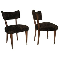 Pair of Chairs wood and chenille green Italian Mid century Modern