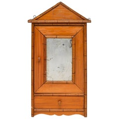 Antique Miniature Model of Wardrobe or Armoire with Mirror