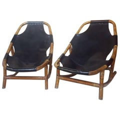 Bamboo and Leather Armchairs, 1960s, Italy
