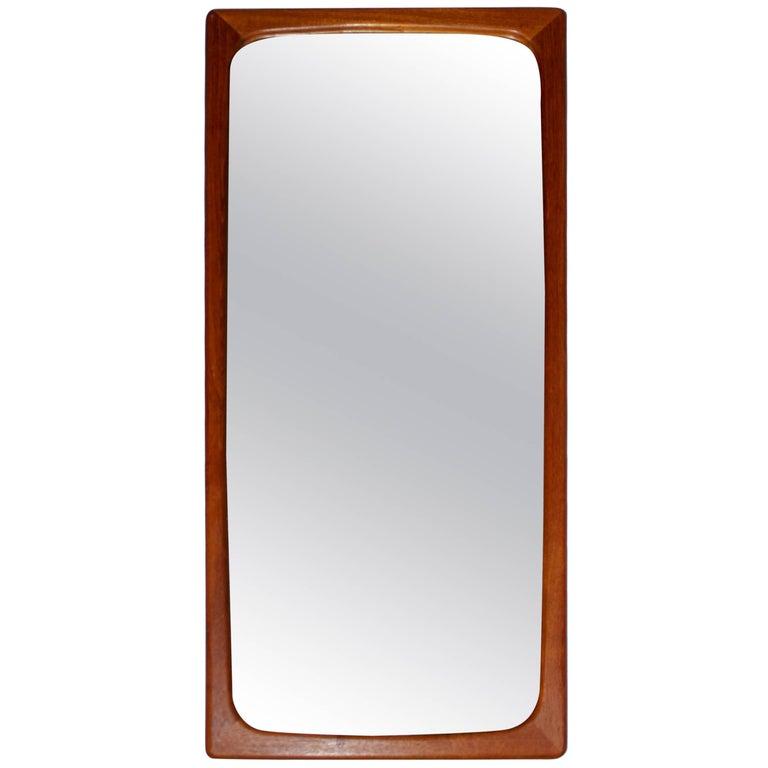 Swedish Midcentury Sculptured Teak Mirror
