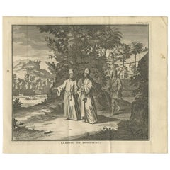 Antique Print of the Clothing of the Tonkin People 'Vietnam' by I. Tirion, 1730