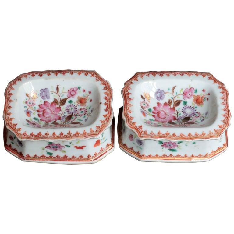 Pair of Rectangular Salts in Porcelain of China, Qianlong Period, 18th Century
