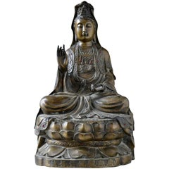 Chinese Buddha Sculpture in Bronze with Red Stones and Inscription