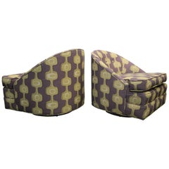 Pair of Midcentury Barrel Swivel Chairs