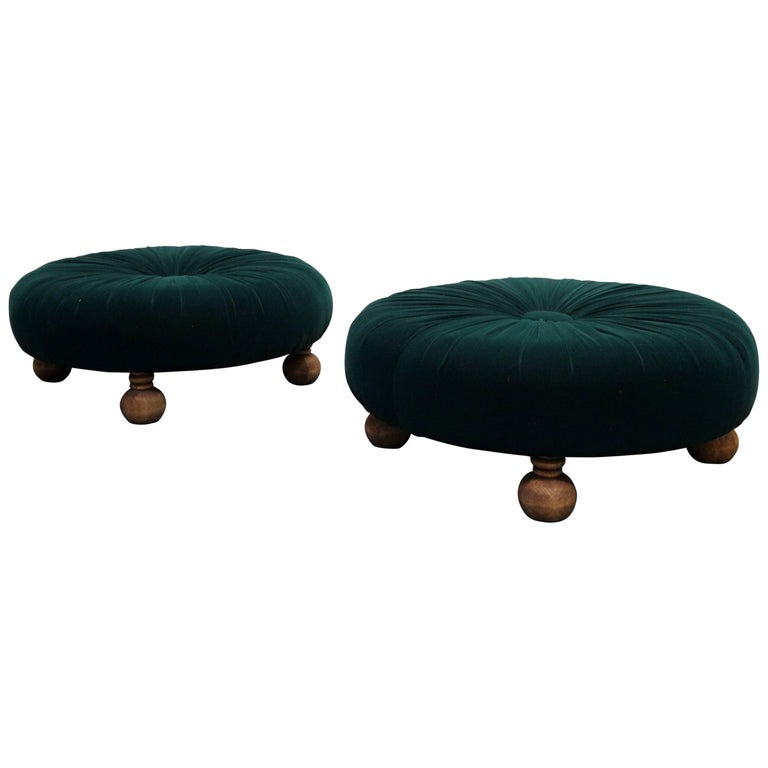 Amazing Pair Of Antique Emerald Green Velvet Round Button Pleated Evergreenethics Interior Chair Design Evergreenethicsorg