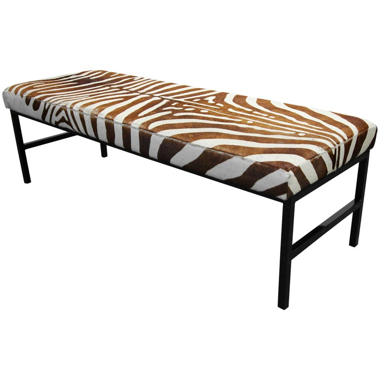 Rare Authentic Brown Zebra Hide Bench For Sale