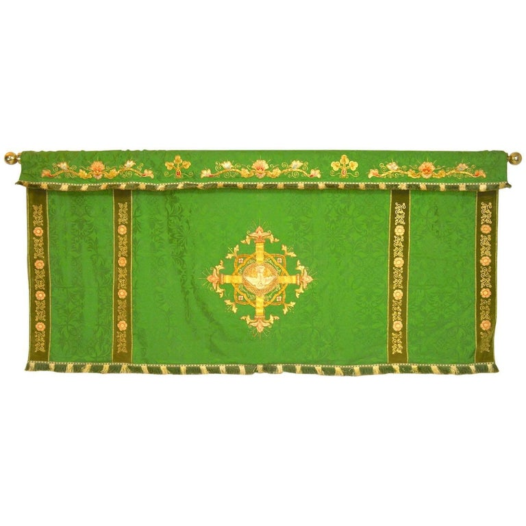 Decorative Tapestry on Brass Rod For Sale