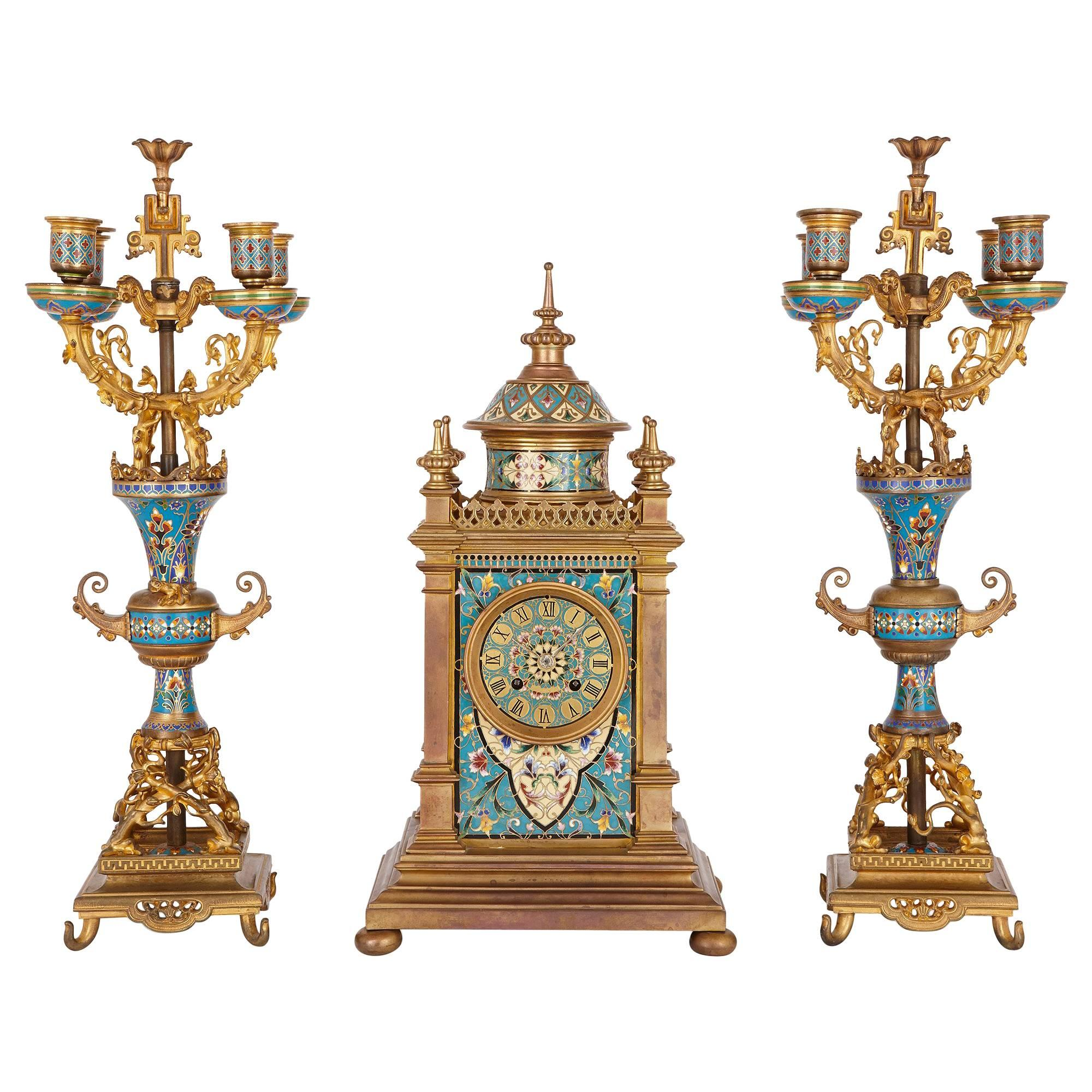 Antique French Clock Set in Champleve Enamel and Ormolu