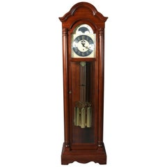 Vintage Mahogany Long Case Moon Phase Clock by Colonial Molyneux, 20th Century
